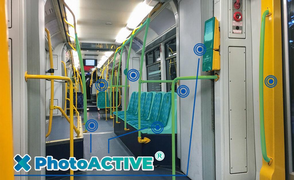 photoACTIVE antimicrobien permanent dans les transports publics ferrovieres et aeriens